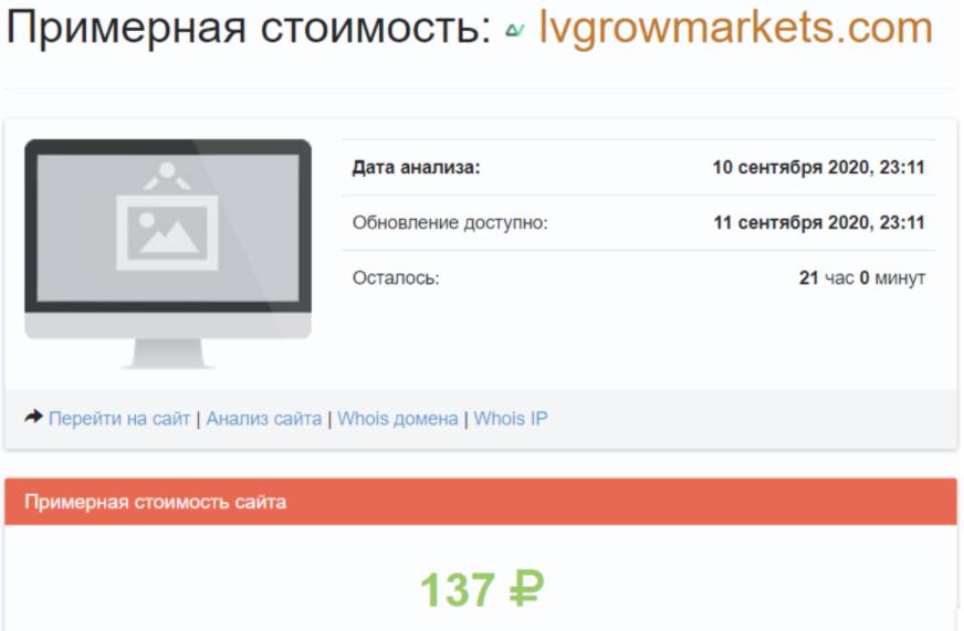 LV Grow Markets - примерная стоимость сайта
