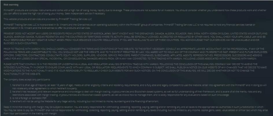 Prime XBT - юридическая информация