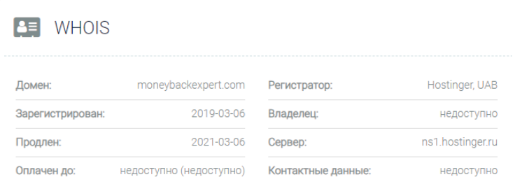 Moneybackexpert -  основные данные