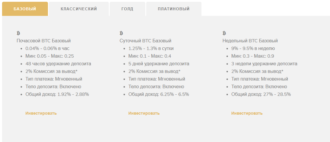 IQBcoin - 4 тарифных плана