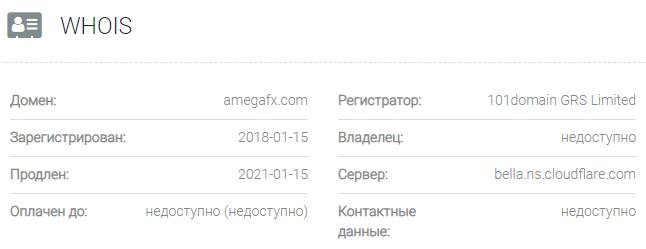 AMEGA - основные данные