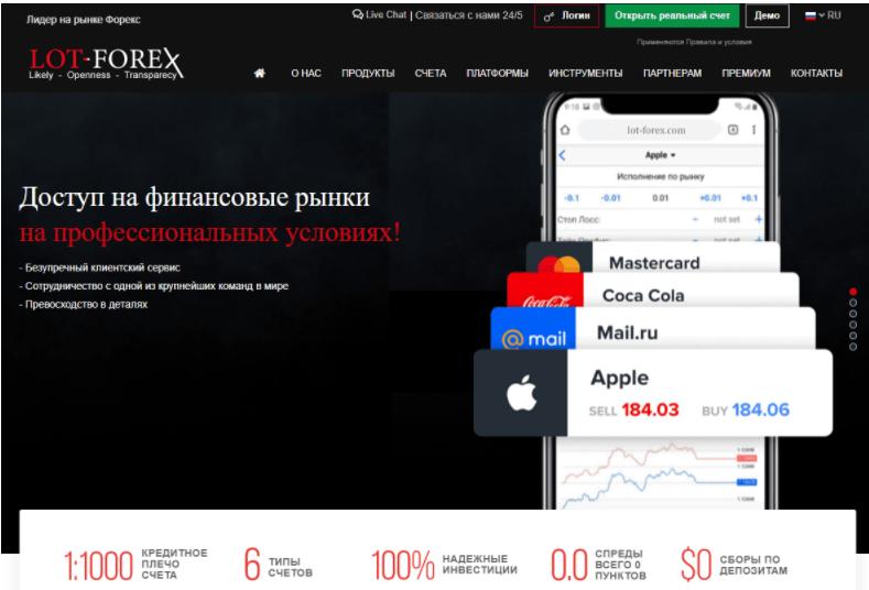 Lot-Forex- сайт компании