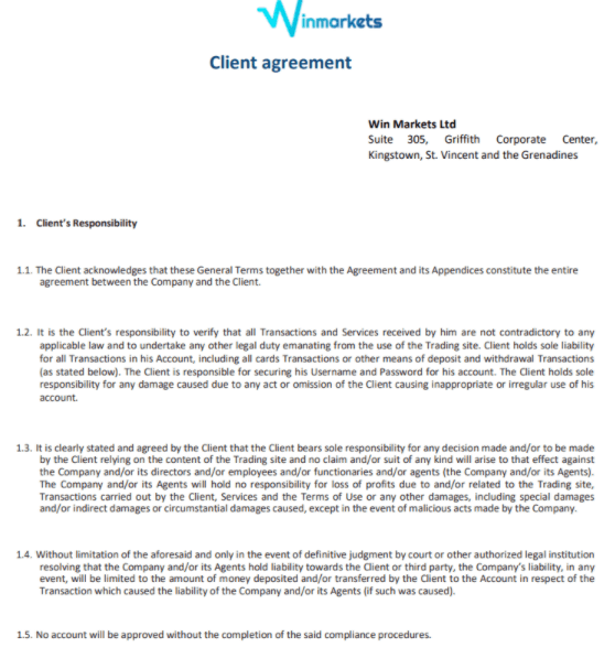 Winmarkets - Клиентское соглашение