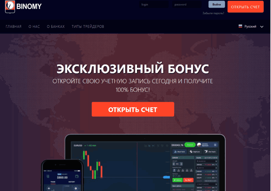 Binomy Net - сайт компании