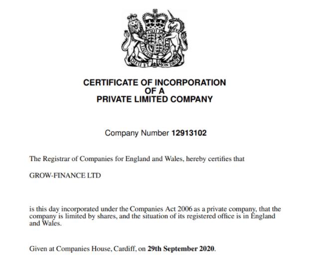 Grow Finance - регистрационные документы