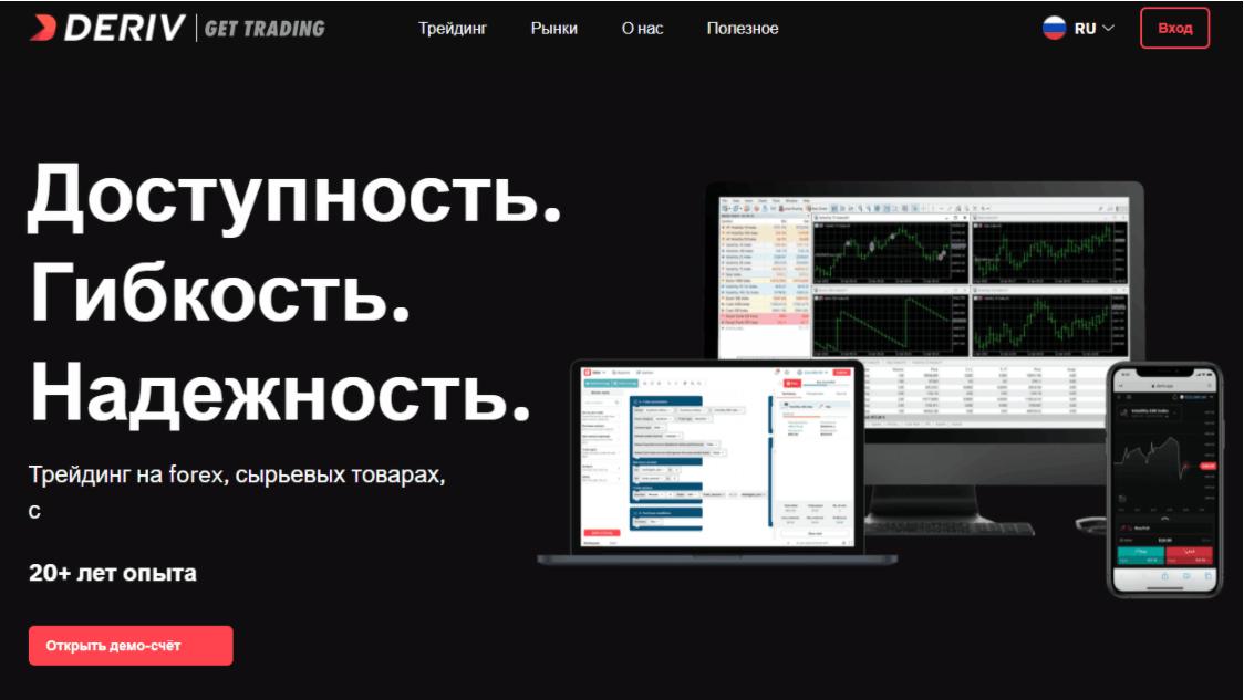 Deriv - сайт компании