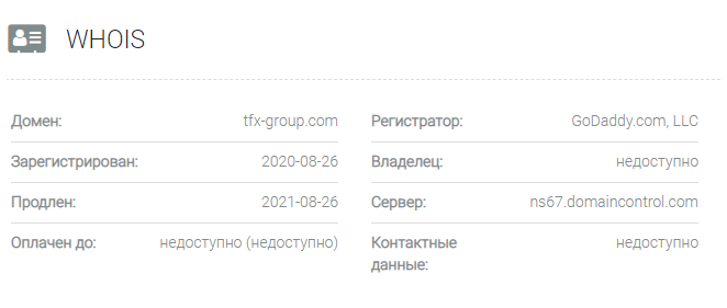 TFX Group - домен