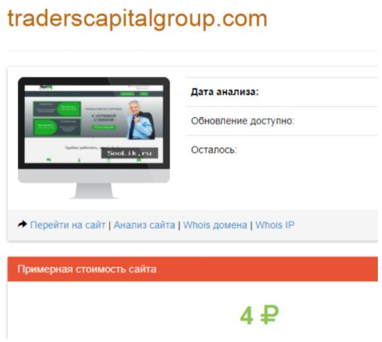 Traders Capital Group - стоимость сайта