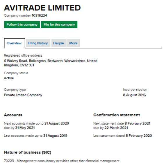 AVI-trade - юридические данные