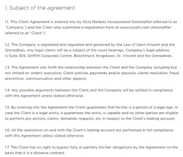 OctaFX - клиентское соглашения