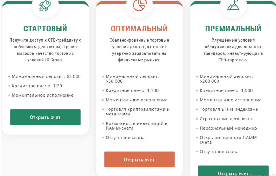 UI Group - торговые аккаунты