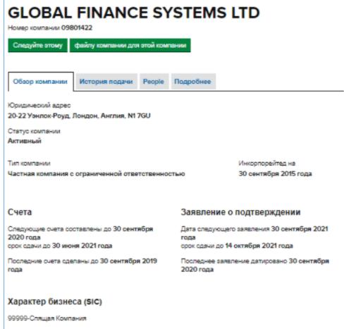 Global Finance Systems - юридическая информация