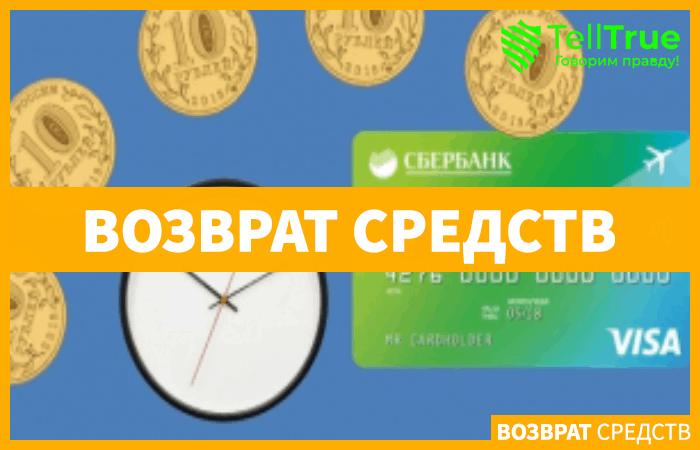 Сколько ждать возврата денег на карту Сбербанка?