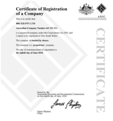 Bruxis - компания зарегистрирована