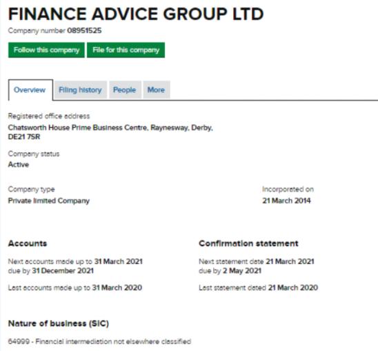 Finance Advice Group - украденные юридические данные