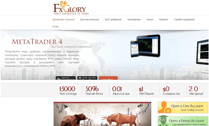 FXGlory - сайт компании