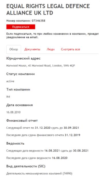 European Legal Alliance - регистрационный номер