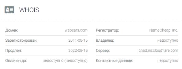 обзор официального сайта Webears