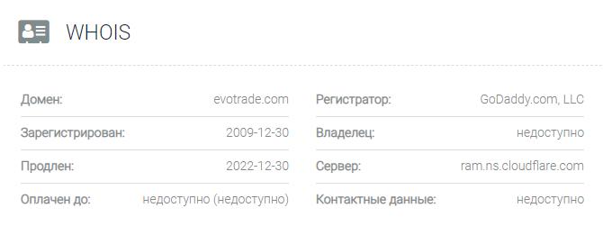 обзор официального сайта Evotrade