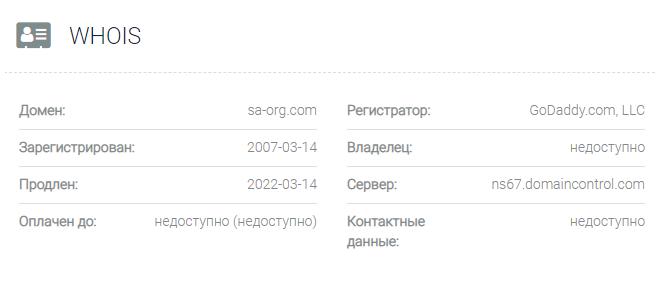 обзора официального сайта Sa Org