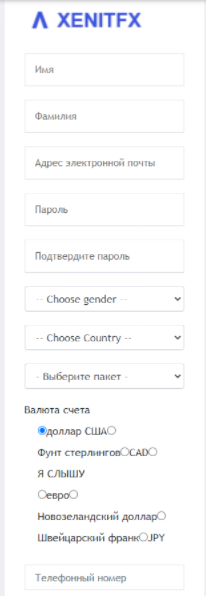 регистрация на XenitFX
