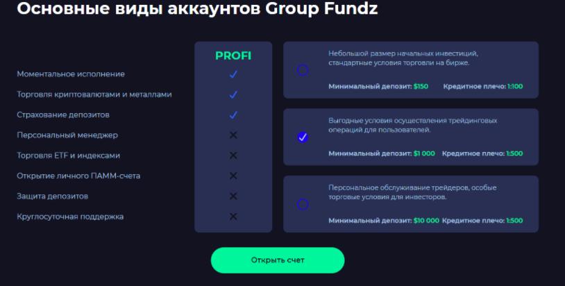 основные виды аккаунтов GroupFundz